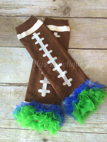 Leg Warmers-Baby leg warmers/Photo Prop and ruffles Football Blue/Green - Pretty's Bowtique