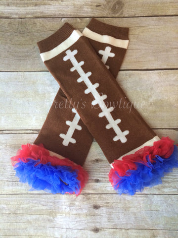 Leg Warmers-Baby leg warmers/Photo Prop and ruffles Football Blue/Red - Pretty's Bowtique