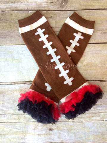 Football Leg Warmers Baby with Red and Black Ruffle - Pretty's Bowtique