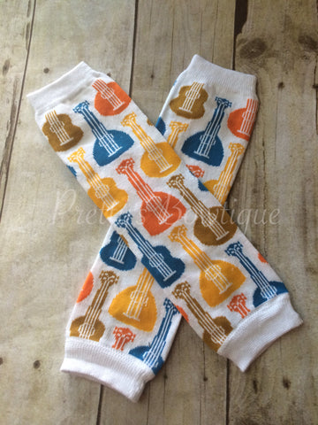 Leg Warmers-Baby leg warmers/Photo Prop Guitars Mustard/Orange ADORABLE - Pretty's Bowtique