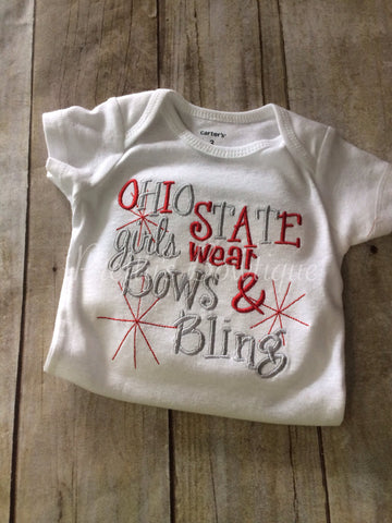 Girls Ohio State girls like bows and bling bodysuit or t shirt - Pretty's Bowtique