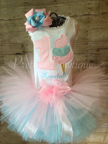 Deluxe Cotton Candy birthday set you can customize colors  Shirt, Tutu, & Bow - Pretty's Bowtique