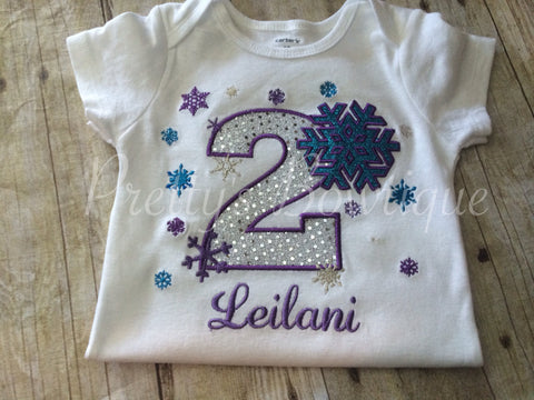 Winter Wonderland birthday shirt custom Onerland Frozen - Pretty's Bowtique