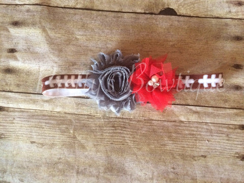 Ohio State OSU Inspired shabby headband or clip - Pretty's Bowtique