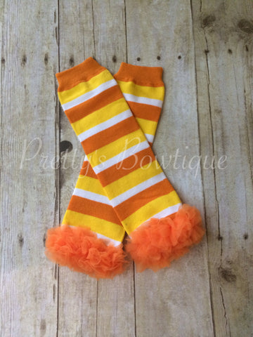 Fall Baby Leg Warmers for Girl in Orange & Yellow Stripe Candy Corn - Pretty's Bowtique