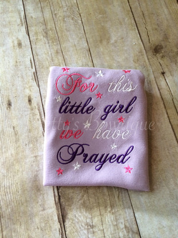 FOR this Little Girl I or WE have Prayed newborn GOWN Lavender - Pretty's Bowtique