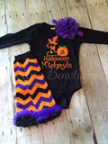 Baby Girls First Halloween Outfit with T Shirt or Bodysuit, Legwarmers and Flower Headband – Sizes 3 Month to Youth - Pretty's Bowtique