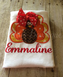 Turkey Shirt for Girls or Baby Bodysuit – Sizes Newborn to XL Youth Personalized with Name - Pretty's Bowtique