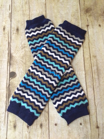 Chevron Blues Leg Warmers-Baby leg warmers/Photo Prop - Pretty's Bowtique