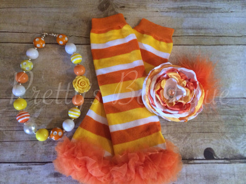 Corn Corn Set~ Flower Clip ~ Leg Warmers~ Chunky Bead Necklace - Pretty's Bowtique