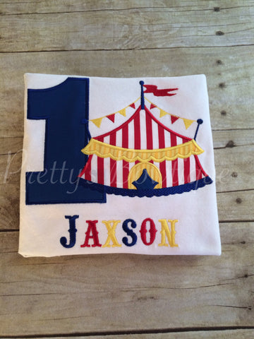 Circus Birthday Shirt Under the Big Top with Name & Age Embroidered – Sizes Newborn to Youth 12/14 - Pretty's Bowtique