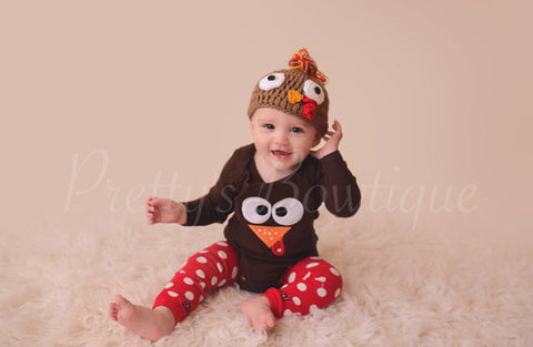Thanksgiving shirt or bodysuit Turkey Shirt or Onepiece body suit so adorable - Pretty's Bowtique