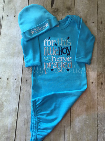 Baby boy coming home outfit -For this Little Boy--  I or WE have Prayed newborn gown and hat -- Newborn boy coming home outfit - Pretty's Bowtique