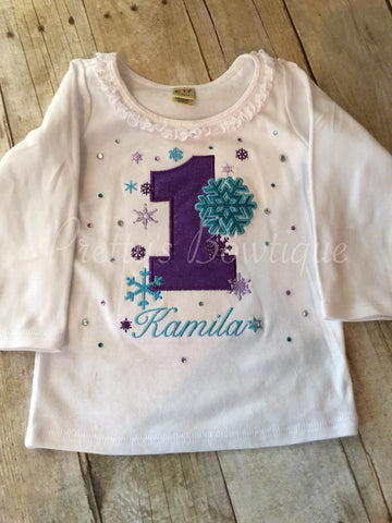 Girls Snowflake Birthday shirt ir bodysuit -- Winter Wonderland birthday shirt custom Onerland Frozen bling - Pretty's Bowtique
