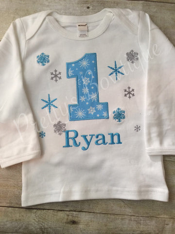 Winter Wonderland birthday shirt custom Onerland BOY - Pretty's Bowtique