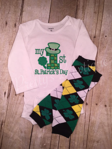My First St. Patricks Day with legwarmers - Pretty's Bowtique