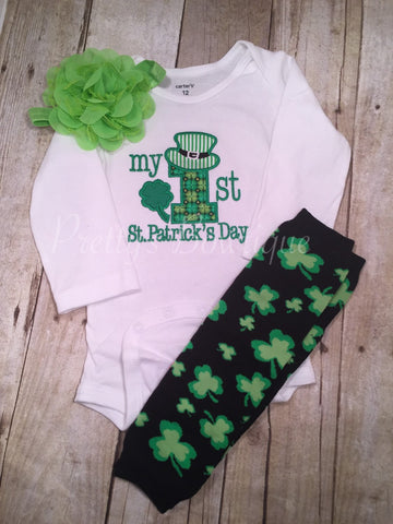 My First St. Patricks Day with legwarmers & flower headband - Pretty's Bowtique