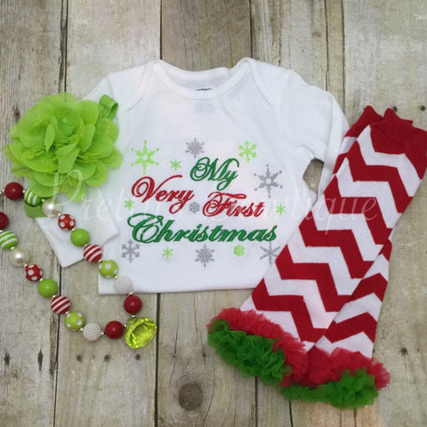 1st Christmas Outfit in Sizes Newborn to 2T - Bodysuit or Shirt with Leg Warmers, Necklace and Headband - Pretty's Bowtique
