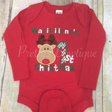 Baby 1st christmas shirt or bodysuit - Personalized 1st Christmas shirt Reindeer 1st Christmas - Pretty's Bowtique