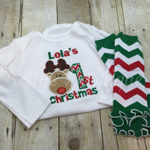 1st Christmas bodysuit or shirt can be Personalized - 1st Christmas Shirt -Babies 1st Christmas Shirt Reindeer Chevron and legwarmers - Pretty's Bowtique