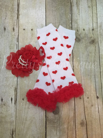 Hearts White and Red Valentine's legwarmers and headband - Pretty's Bowtique