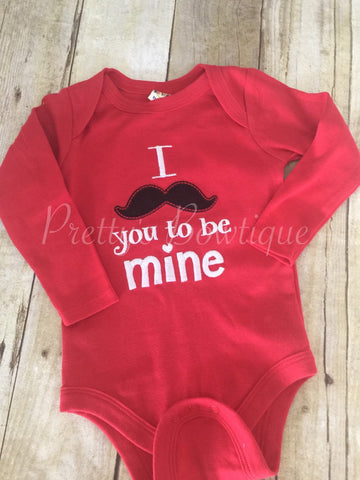 Boys Valentine's Day shirt or bodysuit -- I mustache you to be mine shirt or onepiece - Pretty's Bowtique