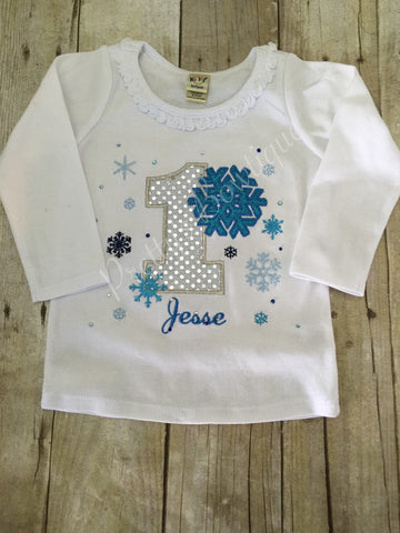 Blue Winter Wonderland birthday shirt custom Onerland Frozen bling - Pretty's Bowtique