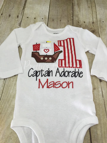 Pirate 1st Birthday Shirt Ship or bodysuit - Pretty's Bowtique