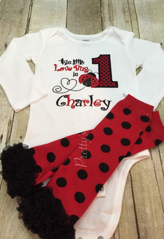 Lady bug birthday set shirt and legwarmers.  This little LOVE BUG is ONE ladybug birthday outfit - Pretty's Bowtique