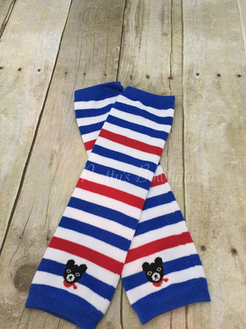 Leg warmers Red White and Blue Stripe -Baby leg warmers Usa 4th of JULY - Pretty's Bowtique