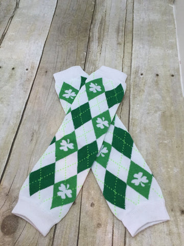 St. Patrick's Day Leg Warmers-Baby leg warmers/Photo Prop  St. Patricks Day Argyle white - Pretty's Bowtique