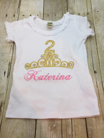 Pink And Gold Birthday Princess T Shirt Or Bodysuit First B Prettys Bowtique
