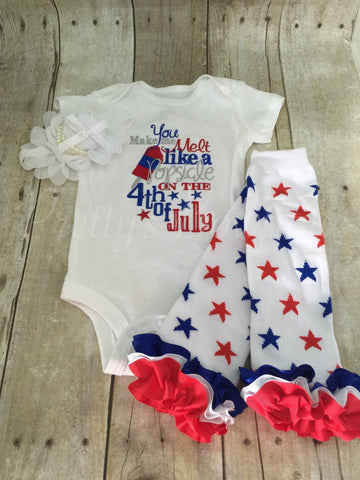Girls Fourth of July outfit--4th of July shirt Fourth of July Outfit Melt like a POPSICLE on the 4th of July outfit 3 piece set - Pretty's Bowtique