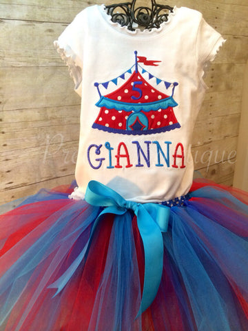 Girls Circus birthday outfit shirt and tutu  Circus theme birthday outfit.  Shirt or One piece matching tutu  So adorable - Pretty's Bowtique