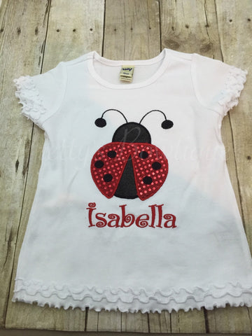 Girls Lady Bug shirt birthday shirt babies, toddlers, children, adults - Pretty's Bowtique