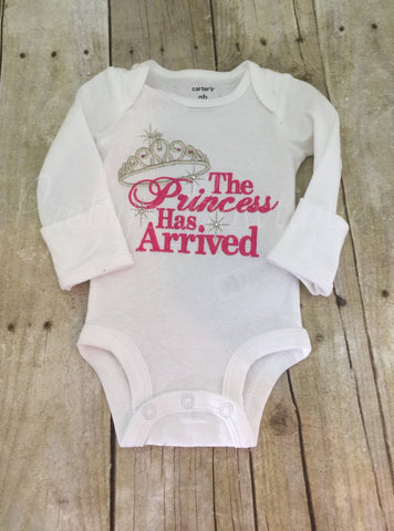 The Princess has arrived shirt or bodysuit.  Perfect for hospital or coming home outfit - Pretty's Bowtique