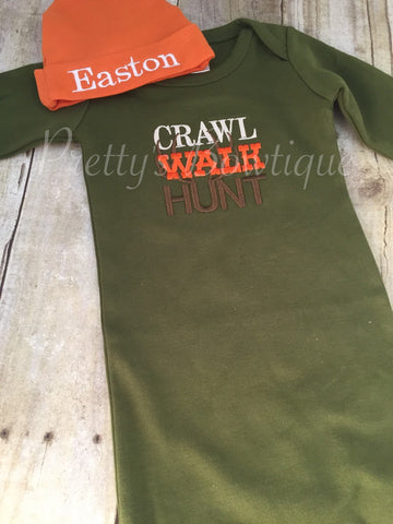 Crawl walk hunt newborn baby gown and matching orange cap. Coming home outfit ~baby shower gift can customize - Pretty's Bowtique