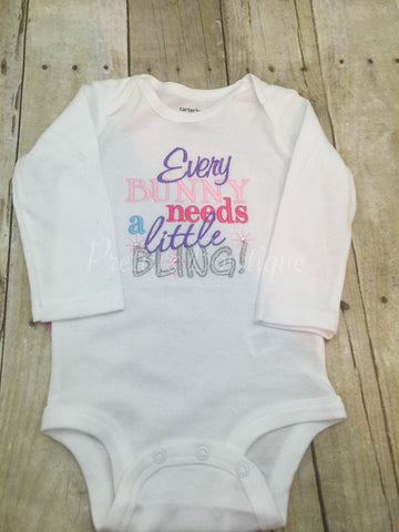 Every Bunny needs a little bling Easter outfit shirt  first easter shirt - Pretty's Bowtique