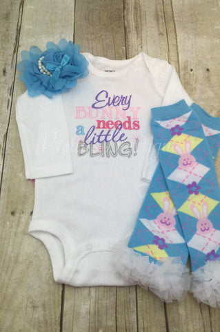 Every Bunny needs a little bling Easter outfit shirt outifit First Easter outfit shirt, headband, and legwamers - Pretty's Bowtique