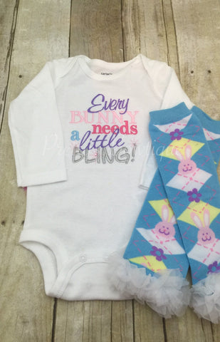 Every Bunny needs a little bling Easter outfit shirt outifit First Easter outfit shirt and legwarmers - Pretty's Bowtique