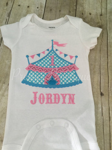 Girls Circus Under the BIG tent shirt.  Perfect for a trip to the circus or a Circus PARTY - Pretty's Bowtique