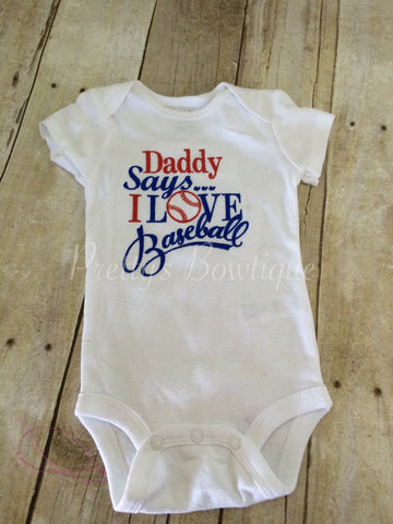 Baseball Daddy says i love baseball bodysuit. Can customize colors - Pretty's Bowtique