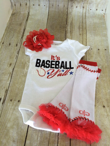 Baseball outfit. It's Baseball Y'all baseball bodysuit, leg warmers and headband.   Can customize colors - Pretty's Bowtique