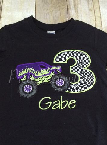 Boys Birthday Monster Truck - Monster Truck Birthday Shirt any age you can pick colors and fabrics - Pretty's Bowtique