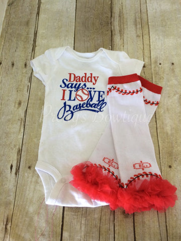 Baseball Daddy says i love baseball bodysuit and leg warmers. Can customize colors - Pretty's Bowtique
