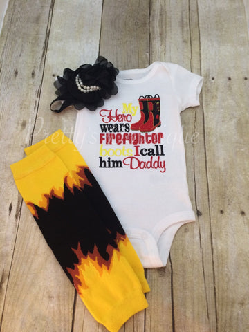 My hero wears FIREFIGHTER Boots i call him daddy.  Can customize for grandpa•mom•uncle•etc「3pc set」 - Pretty's Bowtique