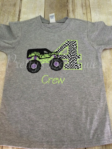 Monster Truck Birthday Shirt any age you can pick colors and fabrics - Pretty's Bowtique