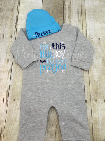 For this Little BOY I or WE have Prayed one piece romper with matching beanie -- coming home outfit - Pretty's Bowtique