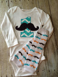 Boys Birthday outfit -- Mustache Birthday shirt -- If you Mustache ask Birthday Shirt with legwarmers you pick thread colors ANY AGE - Pretty's Bowtique