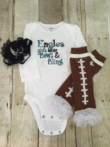 Eagles inspired girls like bling bodysuit set with ruffled football leg  warmers and headband - Pretty s 11370d8ad51